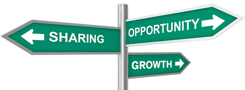 Opportunity, Sharing, Growth street sign graphic